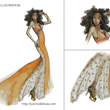 Fashion illustration – pen, colour pencils and water colours